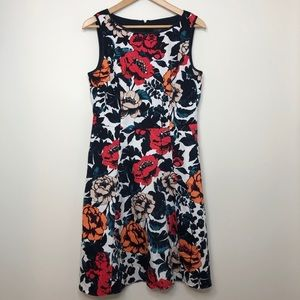 🌸HP!🌸 Adrianna Papell Navy Floral Fit & Flare Dress